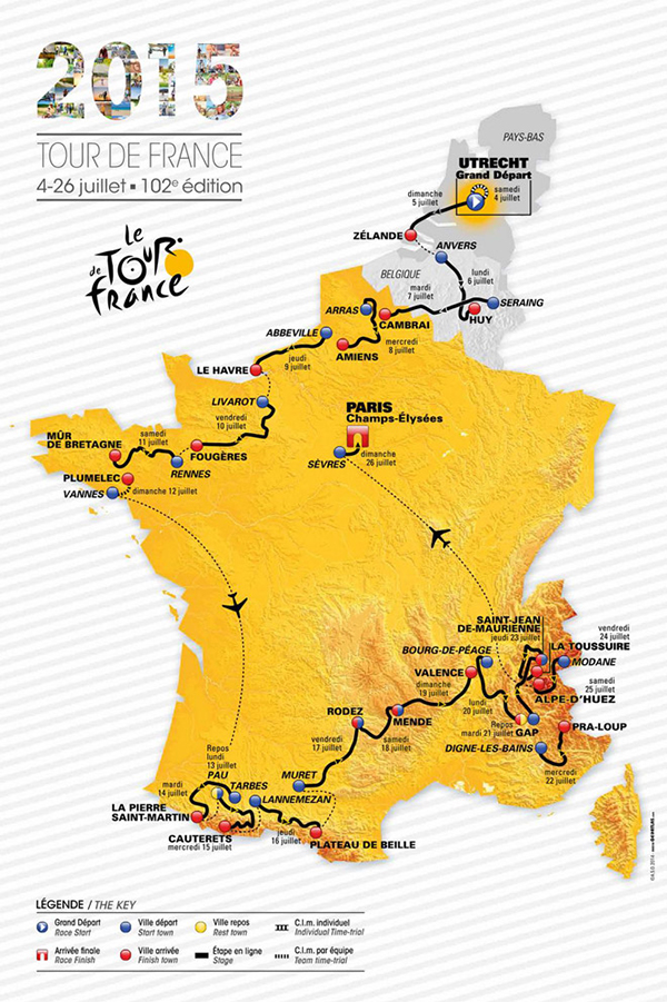 Il percorso del Tour de France 2015