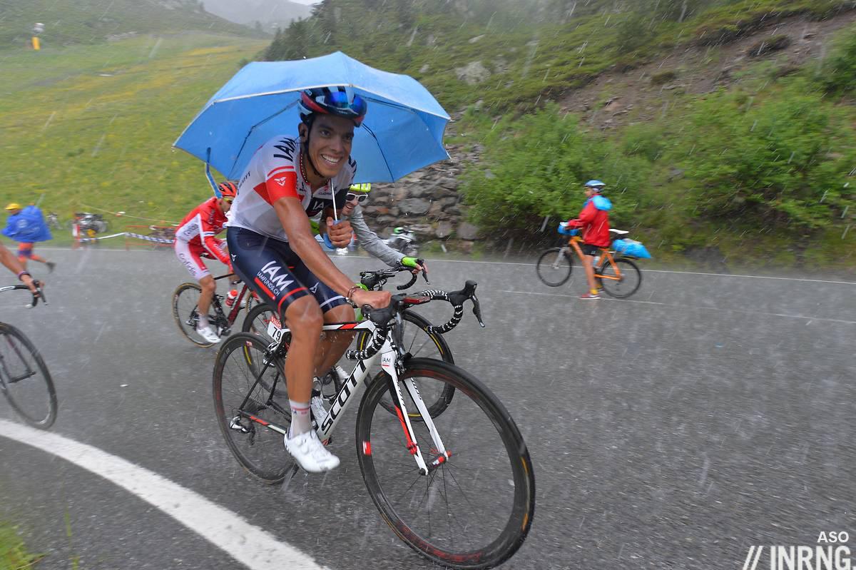 L'ombrello di Jarlison Pantano al Tour 2016