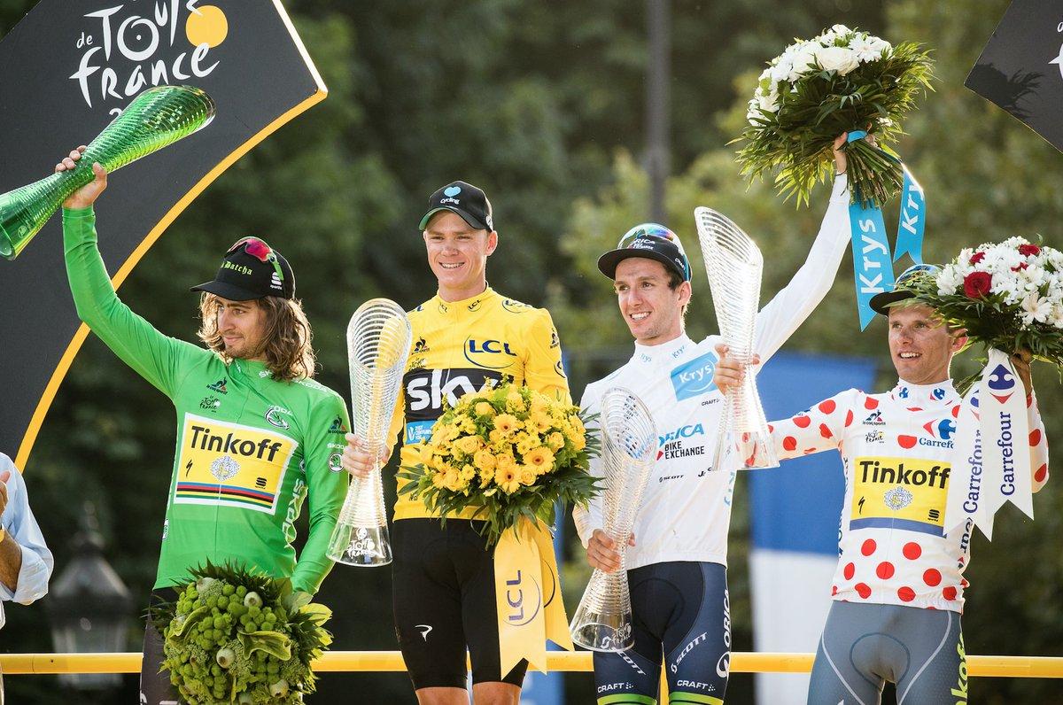 Le maglie sul podio del Tour de France 2016