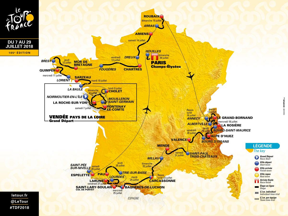 Il percorso del Tour de France 2018