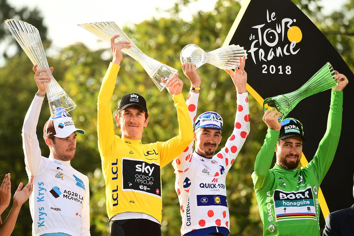 Geraint Thomas, Pierre Latour, Julian Alaphilippe, Peter Sagan al Tour 2018