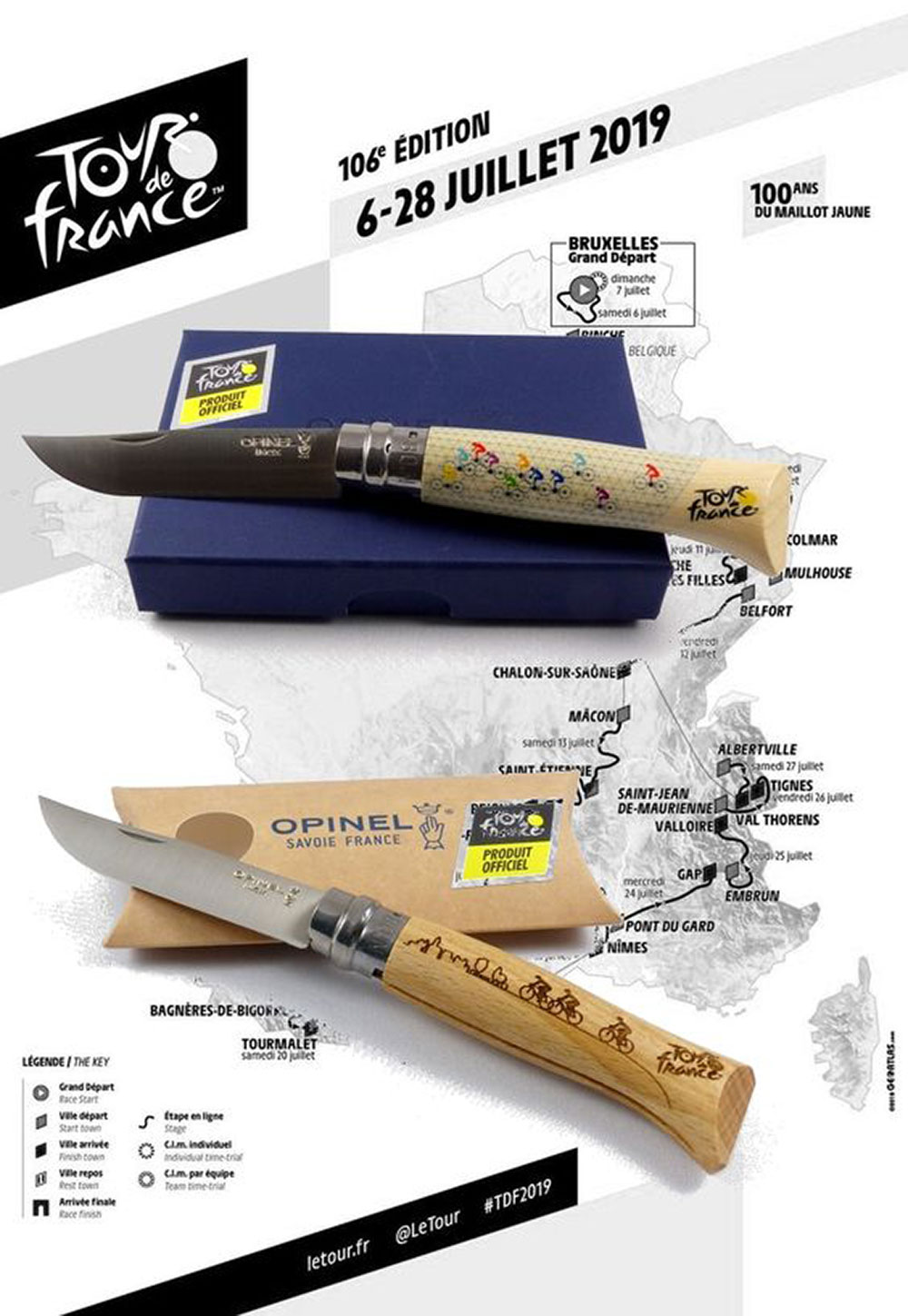 Coltello a serramanico Opinel per il Tour de France 2019