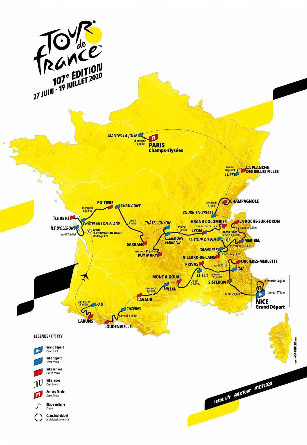 Le tappe del Tour de France 2020