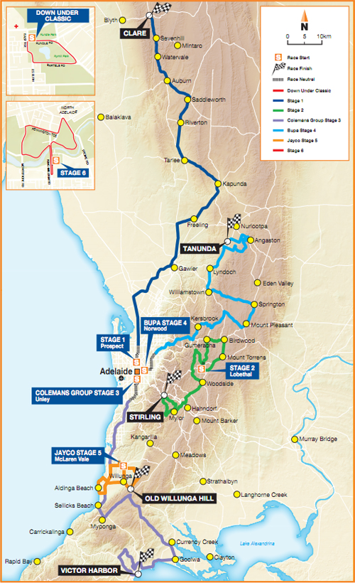 Il percorso del Tour Down Under 2012