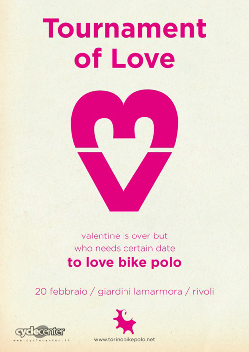 Il manifesto del Tournament of love di bike polo
