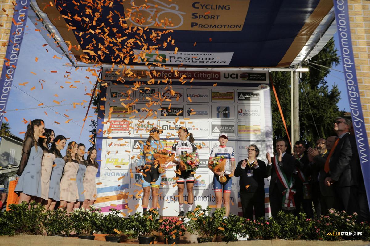 Il podio del Trofeo Alfredo Binda 2017