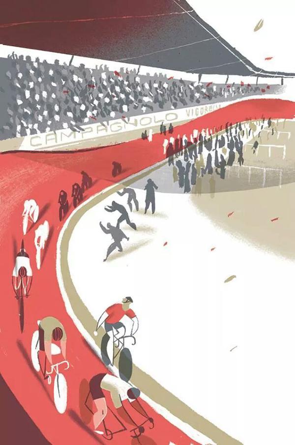 Poster illustrato del velodromo Vigorelli