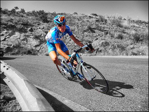 Laurent Lefreve sul tracciato della Vuelta