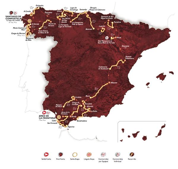 Il percorso della Vuelta 2014