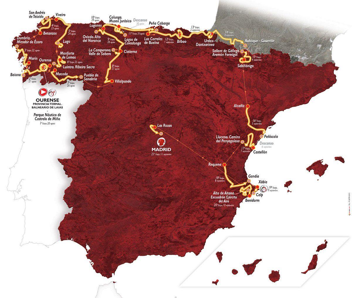 Percorso della Vuelta 2016