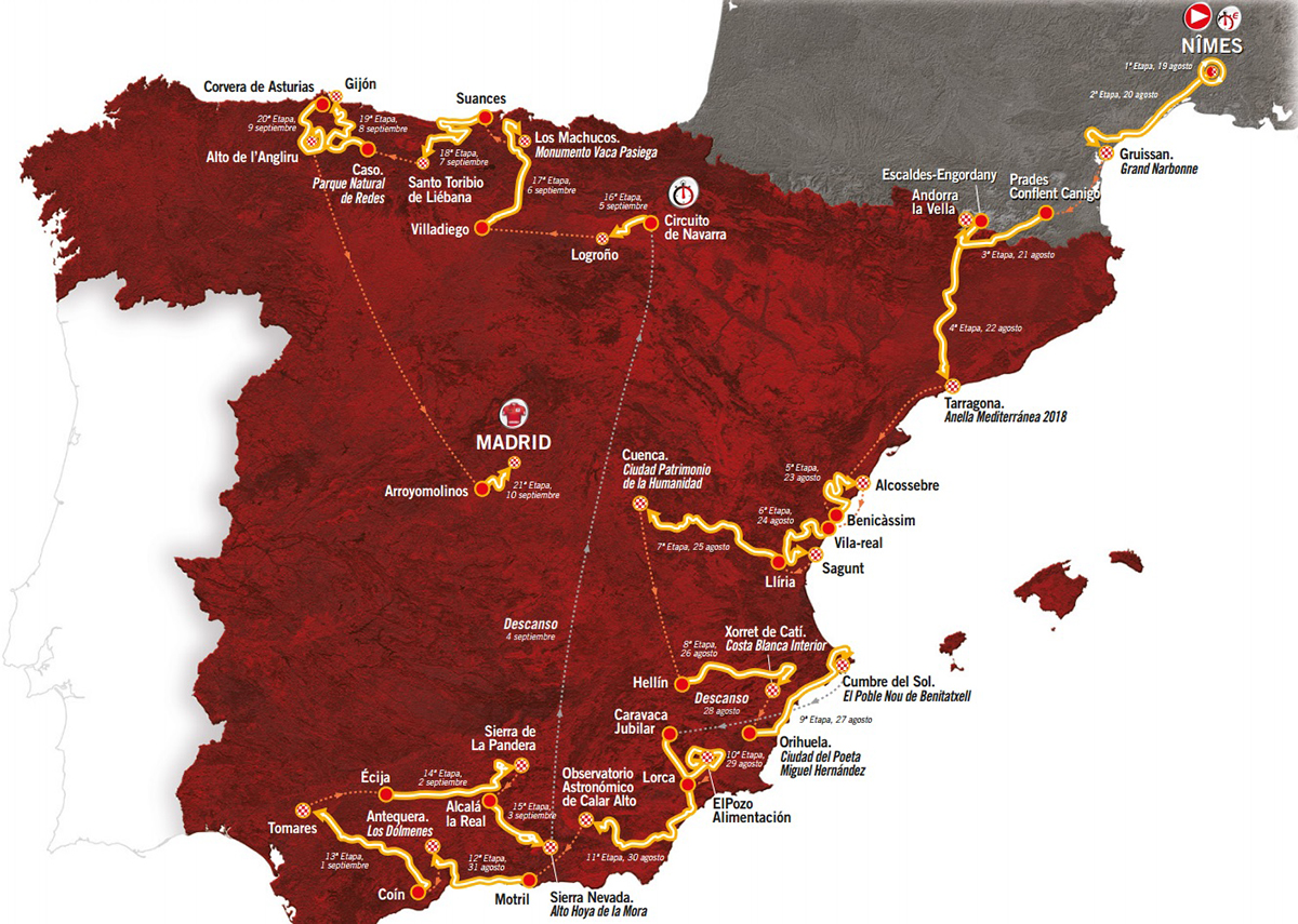 Il percorso della Vuelta 2017