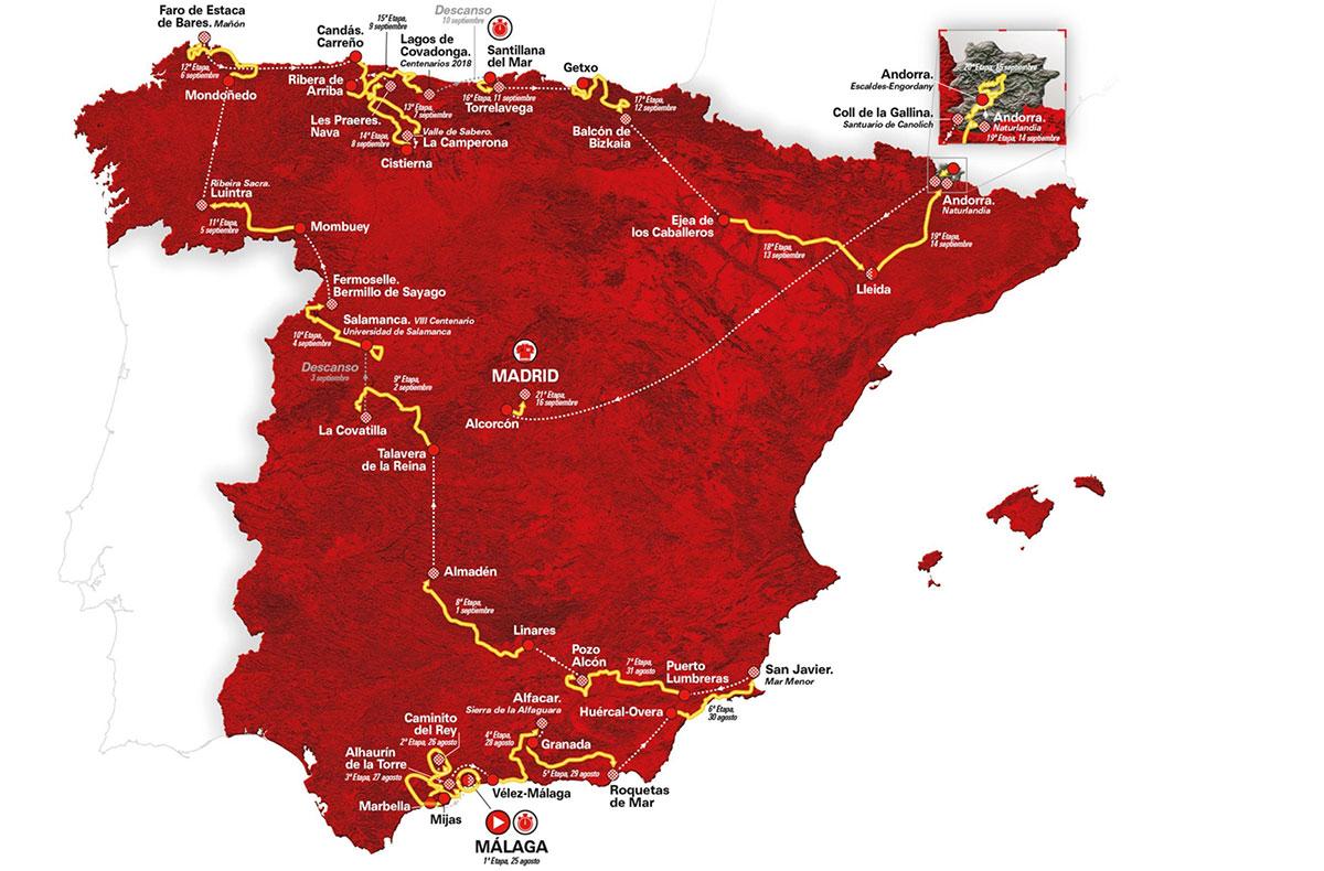 Il percorso della Vuelta a Espana 2018