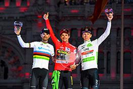 Primoz Roglic, Alejandro Valverde, Tadej Pogacar sul podio della Vuelta 2019