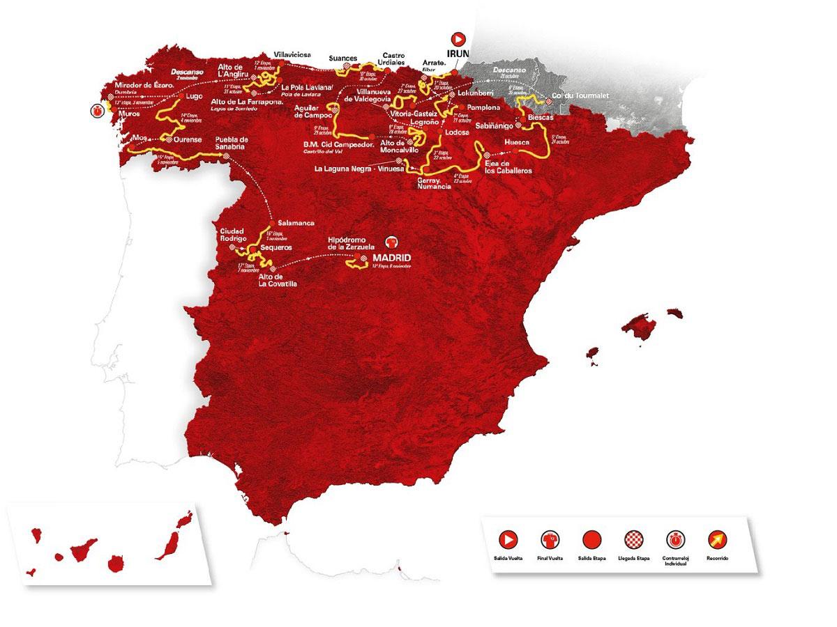 Il percorso dela Vuelta a Espana 2020