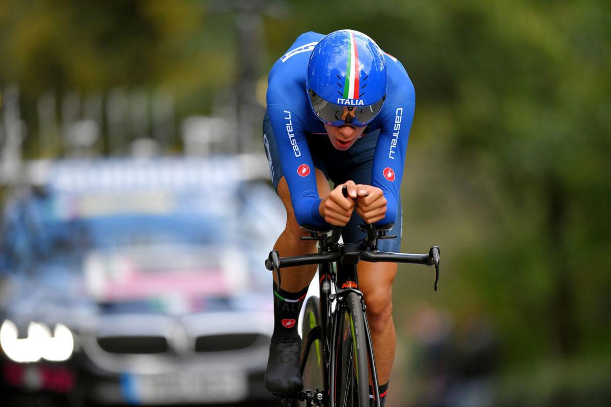 Antonio Tiberi alla cronometro juniores di Yorkshire 2019